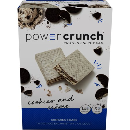 Power Crunch Protein Energy Bar, Cookies & Cream, 14g Protein, 5 Ct