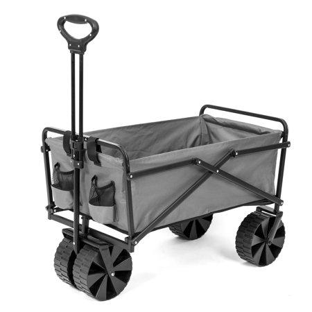 Seina Manual 150 Pound Capacity Folding Utility Beach Wagon Outdoor Cart, (Gray Utility Cart)