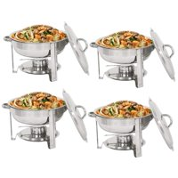 Zeny 4 Pack Round Chafing Dish 5 Quart Stainless Steel Tray Buffet Catering Warming