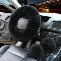 "3PCS Plush Wool Car Steering Wheel Non-slip Protector + Gear Knob Shifter Parking Brake Cover Set Christmas Gift Car Decor Fashion Accessories 14.2"""
