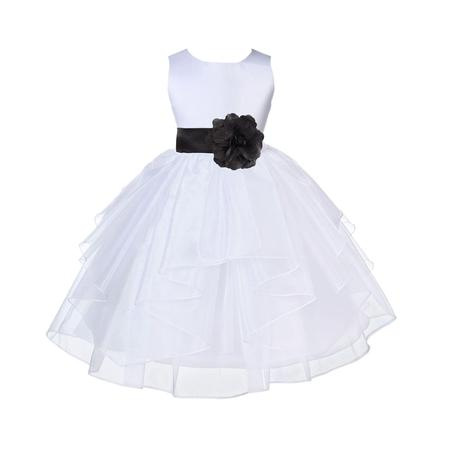 Ekidsbridal Formal Satin Shimmering Organza White Flower Girl Dress Bridesmaid Wedding Pageant Toddler Recital Easter Communion Graduation Reception Ceremony Birthday Baptism Occasions - Lydia Wedding Dress