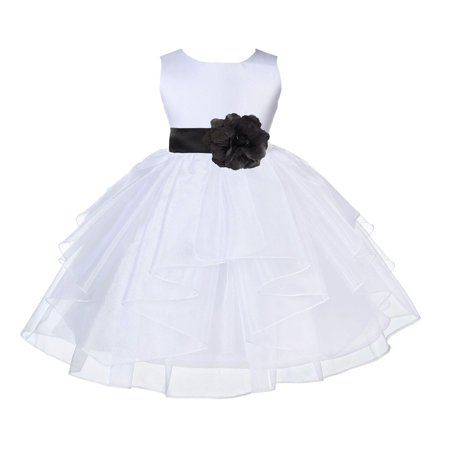 Ekidsbridal Formal Satin Shimmering Organza White Flower Girl Dress Bridesmaid Wedding Pageant Toddler Recital Easter Communion Graduation Reception Ceremony Birthday Baptism Occasions