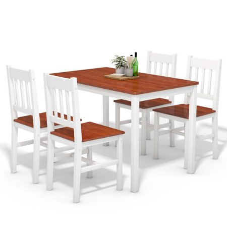 Pine Kitchen Furniture (Gymax 5 Piece Dining Table Set 4 Chairs Solid Wood Home Kitchen Breakfast Furniture )