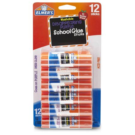 Elmer's Disappearing Purple Washable School Glue Sticks, 0.21 oz, 12 (Best Pdr Glue Sticks)
