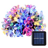 Icicle Christmas lights Outdoor Solar String Lights Cherry Blossom Festival Decoration Lights 23ft 50 LED Waterproof Decoration Lights (Multicolor)