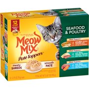Meow Mix Meaty Pate Toppers Seafood & Poultry Cat Food Variety Pack, 12-Count