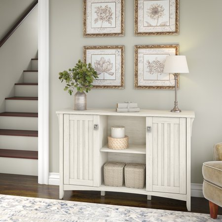 Bush Furniture Salinas Storage Cabinet with Doors in Antique White Antiqued White Wood Cabinet