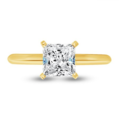 Solid 14k Yellow Gold Princess Cut Knife-Edge Four Prong Solitaire Engagement Ring CZ Cubic Zirconia 1.0ct. , Size 7