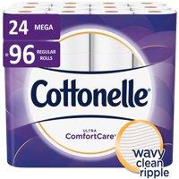 Cottonelle Ultra ComfortCare Toilet Paper, 24 Mega Rolls (=96 Regular Rolls)