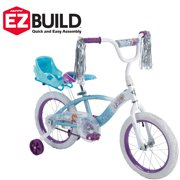 "Huffy Disney Frozen 16"" EZ Build Girls Bike with Sleigh Doll Carrier, White/Blue"