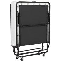 Best Choice Products Folding Rollaway Cot-Sized Mattress Guest Bed w/ 3in Memory Foam, Locking Wheels. Steel Frame  - Black