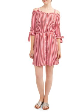 Women's Stripe Off the Shoulder Shirt Dress