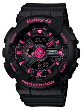 Casio Women's Baby-G Black and Pink Ana Digi Watch BA111-1ACR