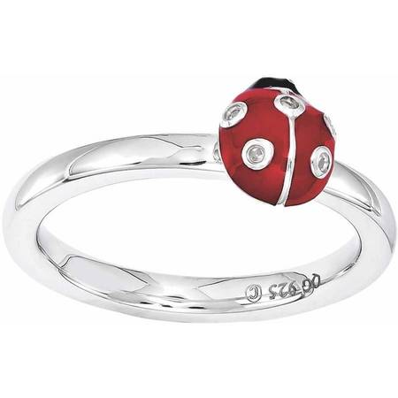 Black White Enamel Rhodium Ring - Sterling Silver Red & Black Enamel w/Diamond Ring