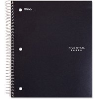 "Five Star Wirebound Notebook, 1 Subject, Wide Ruled, 10 1/2"" x 8"", Assorted Colors (05057)"