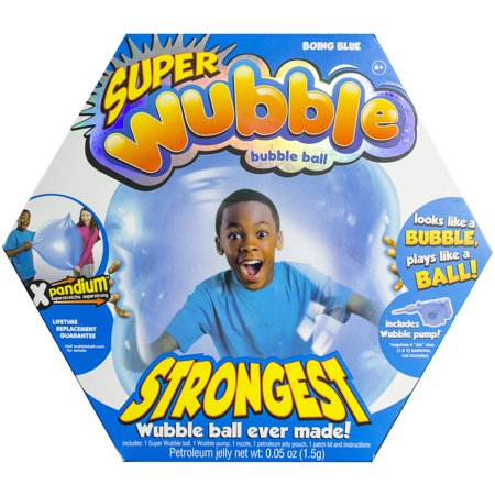 Blue Super Wubble Ball with Pump - Pink Bubbles