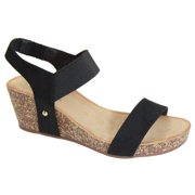 919166db9e80 Norie Women Platform Wedge Low Heel Elastic Strap Band Slingback Sandal  Black