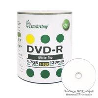 100 Pack Smartbuy 16X DVD-R 4.7GB 120Min White Top (Non-Printable) Data Blank Media Recordable Disc