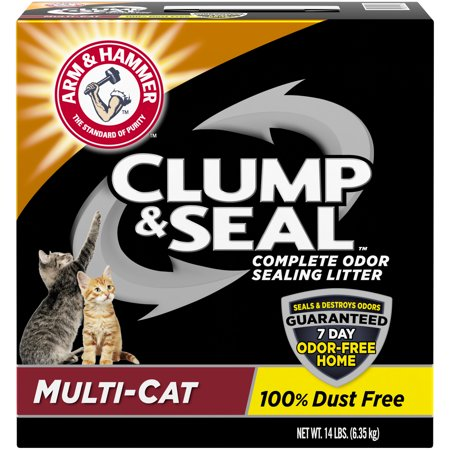 Arm & Hammer Clump & Seal Litter, Multi-Cat 14lb (Best Clumping Cat Litter For Multiple Cats)
