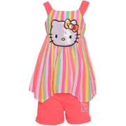 14f116eb6 Hello Kitty Little Girls Coral Stripe Hanky Hem 2 Pc Shorts Outfit