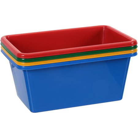 Toy Storage Bin (Tot Tutors Small Bins Primary Color Toy Storage Bins 4 ct Pack )