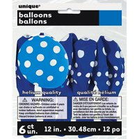 "12"" Latex Royal Blue Polka Dot Balloons, 6ct"