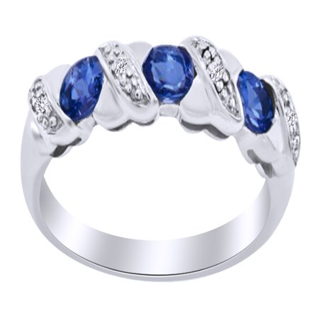 Oval Shape Simulated Tanzanite & Round White Natural Diamond Wedding Ring in 14k White Gold Over Sterling Silver Ring Size -