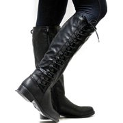95480e592b9a Womens Knee High Boots Ladies Flat Side Lace Up Motorcycle Riding Shoes