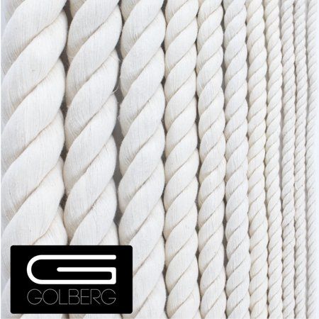Golberg White Natural Cotton Rope - 3/4 Inch Diameter Twisted 100% Pure Natural Cotton Rope - Multiple Length Options - Made in -