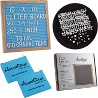 """10"""" X 10"""" Felt Letter Board with 360 Changeable White Letters – Two Zippered Pouches- Plastic Stand and Metal Hook for Easy Display (Blue)"""
