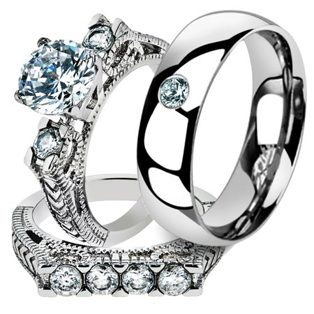 His & Her 3 Pc Stainless Steel 2.95 Ct Cz Bridal Set & Men Zirconia Wedding Band Women's Women's Size 10 Men's Size -