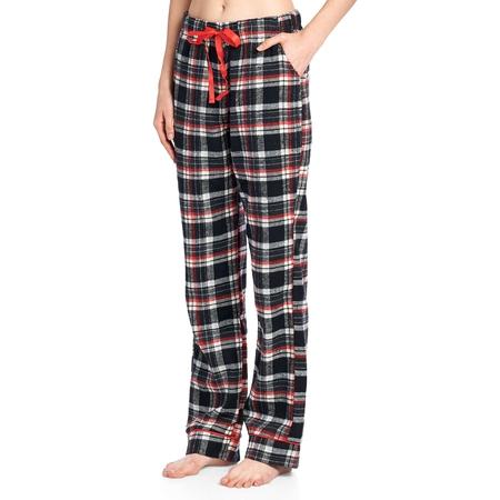 Ashford & Brooks Women's Super Soft Flannel Plaid Pajama Sleep Pants - Black Ivory - X-Large - Pyjamas For Adults