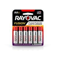 Rayovac FUSION Premium Alkaline, AA Batteries, 6 Count