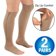 4ca23dd5f 2 Zipper Pressure Compression Socks Support Stockings Leg - Open Toe Knee  High - 20-. Product Variants Selector. Nude Black White