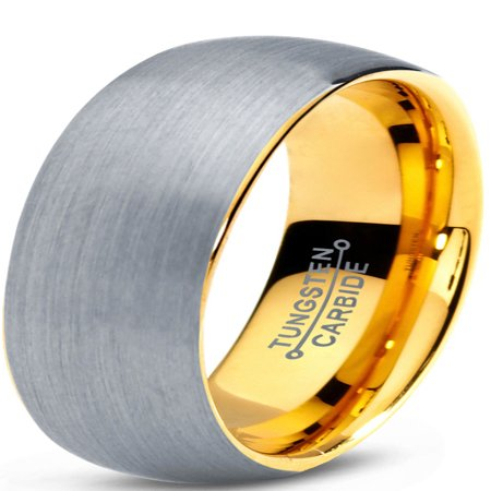 Tungsten Wedding Band Ring 7mm for Men Women Comfort Fit 18K Yellow Gold Plated Plated Domed Brushed Lifetime Guarantee Diamond Domed Band Ring