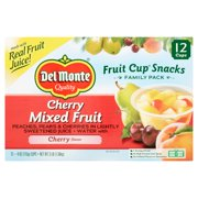 (24 Cups) Del Monte Fruit Cup Snacks Cherry Mixed Fruit, 4 oz cups