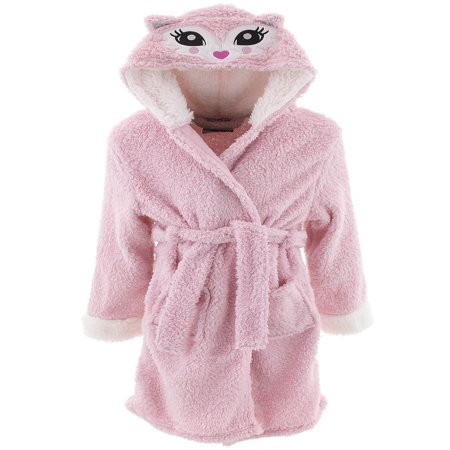 dELiA*s Girls Cat Pink Hooded Sherpa Bathrobe - Kids Bathrobe