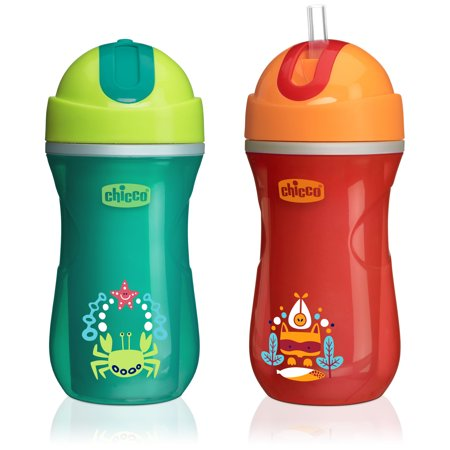 Chicco Insulated No Spill Flip-Top Straw Sippy Cup 12M+, 9oz Orange/Teal -