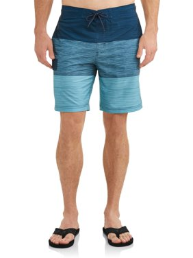 Men's Text Color Block Eboard Swim Short , up to size 5XL