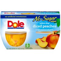 (3 Pack) Dole Fruit Bowls, No Sugar Added Yellow Cling Diced Peaches, 4 Ounce (4 Cups)