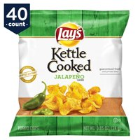 Lay's Kettle Cooked Potato Chips Snack Pack, Jalapeno, 0.85 oz Bags, 40 Count