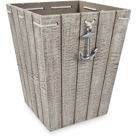 Better Homes & Gardens MDF Wood Nautical Wastebasket, 1 Each