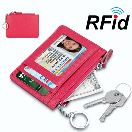 Njjex Rfid Blocking Genuine cowhide Leather Durable Slim Wallets with Key chain, Secure Credit Card Wallet Mini Card Holder with Zipper and Id Window, Cow Leather Women Zipper
