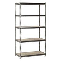 "Muscle Rack 18"" D x 36"" W x 72"" H, 5-Shelf Steel Shelving, Silver-Vein"