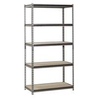 """Muscle Rack 5-Shelf Steel Shelving, Silver-Vein, 18"""" D x 36"""" W x 72"""" H"""