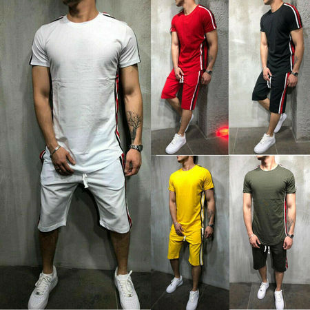 Men's Short Sleeve Gym Sports Play Suit Jogging Shorts T-Shirt Tops (Lost T-shirt Shorts)