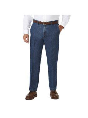 Men's Big & Tall Stretch Denim Flat Front Trouser Classic Fit HC90275