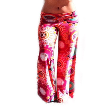 Women Boho Pants Floral High Waist Palazzo Stretch Loose Long Leg Trousers (Stretch Vintage Trousers)