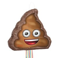 Poop Emoji Pinata, Pull String, 18.5 x 15.25in