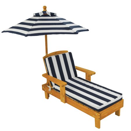 KidKraft Outdoor Chaise Lounge Children's Chair with Umbrella and Cushion,  Navy and White Striped Fabric - KidKraft Outdoor Chaise Lounge Children's Chair With Umbrella And